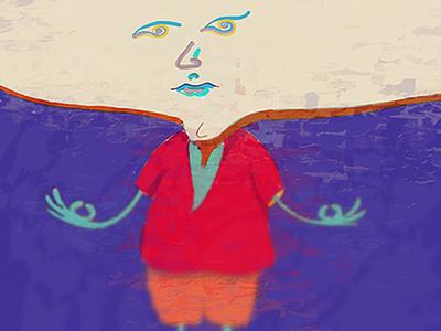 Meditation best illustration flat eyes face prop ar design character surreal