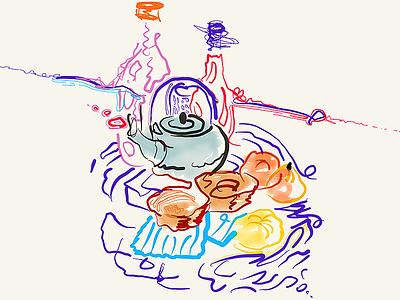 Still Life with a teapot and lemons surreal stilllife sketch live lemons illustration design graphic fragmentsofmymind drawing doodle abstract