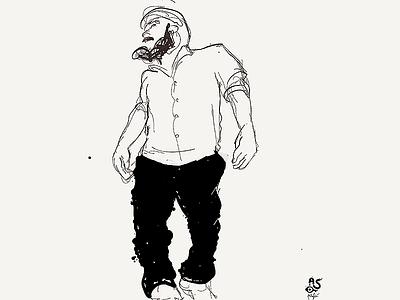 Portrait of Josh best face black  white 5min sketch drawing character portrait blackandwhite illustration