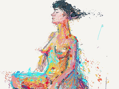 A girl, dreaming character art character girl illustration nudes nudeart expressionism colors drawing painting girl nude sketch live