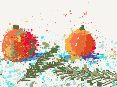Happy New Year abstract design illustration celebrate card christmas newyear oranges painting drawing pixel art pixelart