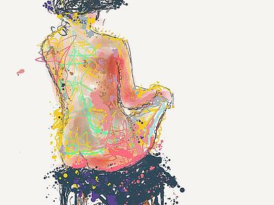 A girl, sitting III 40min illustration painting sketch design drawing art girl nude nudeart live girl illustration doodleart