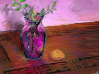 Small still life with a lemon paintings art photoshop art simple sketch purple lemon still life drawing brushes photoshop painting