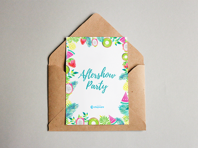 Aftershow Party invitation card typography illustartion aftershow beach color food flyer party shopware