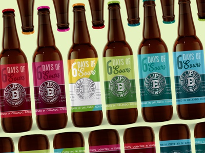 Six Days of Sours craft beer package design packaging design typography beer bottle beer branding beer label beer art beer