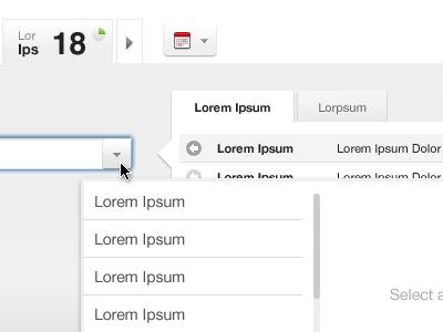 UI elements grey helvetica input tabs