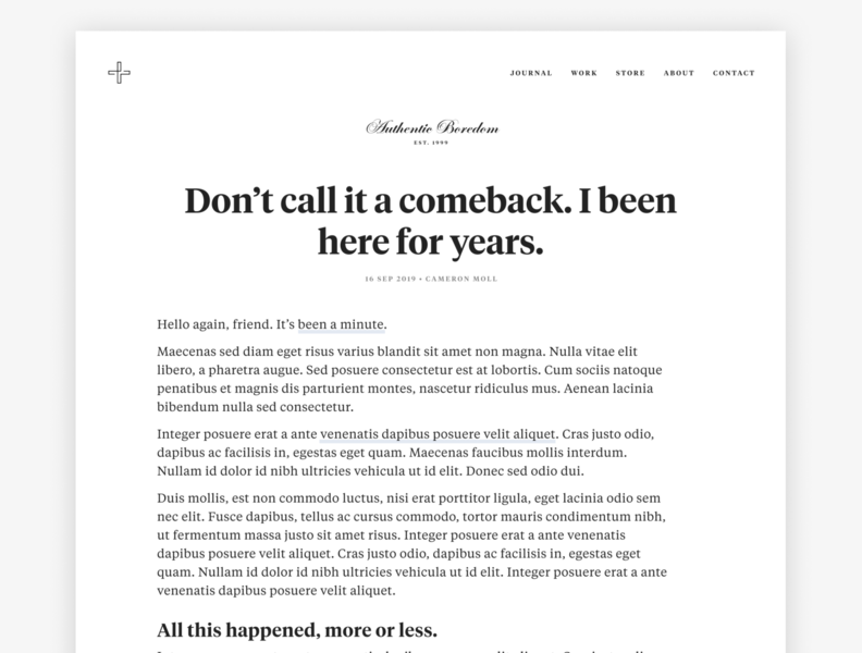 Don't call it a comeback. wip engravers tiempos personal website blog