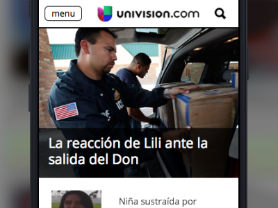 Univision Homepage Mobile Prototype for testing prototype mobile made with invision