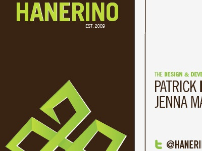 Business cards. Parts of each side. hanerino print business card brown green