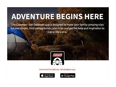 """Coleman """"Get Outside"""" App mobile design ux  ui mobile app mobile app design"""