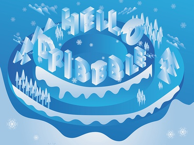 Say Hello to Dribbble in this Winter Season nightshot night landscape design nature clouds welcome tree mountains dribbble hello dribbble snow snowfall winter view winter landscape landscape winter adobe illustrator illuatration adobe illustrator cc adobe