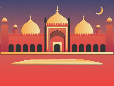An illustration of Badshahi Masjid (Mosque) Lahore Pakistan. pakistani architecture islamic lahore punjab india mughal mosque masjid adobe illustrator adobe