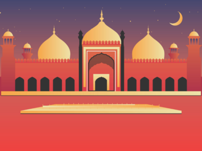 An illustration of Badshahi Masjid (Mosque) Lahore Pakistan.