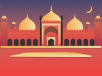 An illustration of Badshahi Masjid (Mosque) Lahore Pakistan.