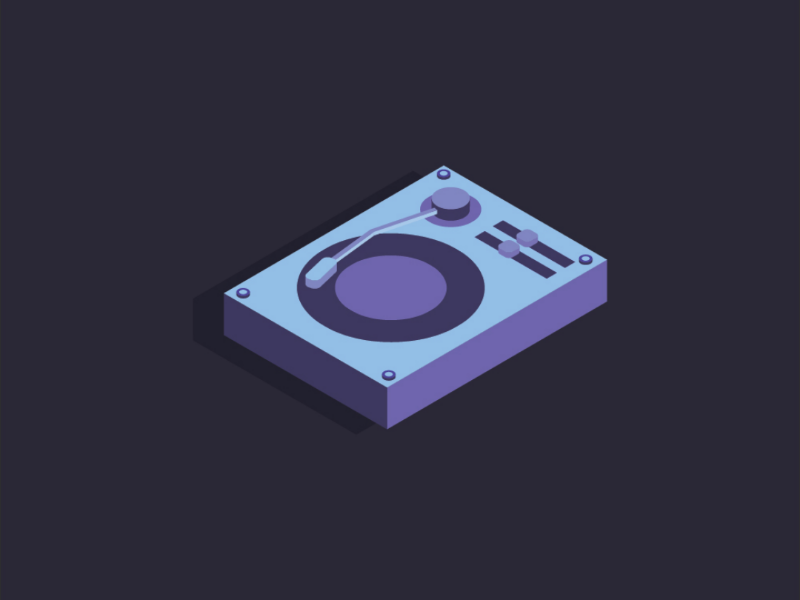 Isometric Turntable isometric view design illustration vector instrument music isometric design isometric turntable
