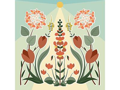 Happy garden 1 rubber stamp print design 60s sunlight hydrangea tulip herbs flowers backtonature nature flat vector branding illustration design