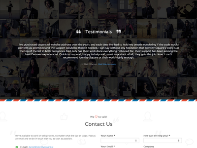 Testimonials & Contact Section testimonials quote contact post letter parallax css