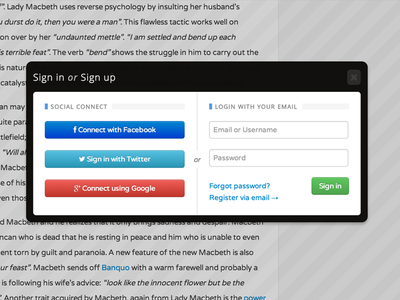 Sign In Modal Box login signin connect social bootstrap facebook twitter google