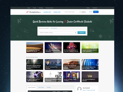New StudyNotes.ie Homepage homepage website css3 html design education search home blog community