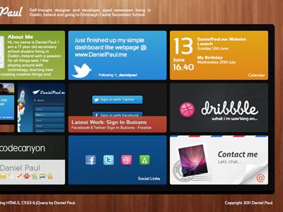 My webpage wood webpage portfolio 3d css3 html5 twitter dribbble windows 8