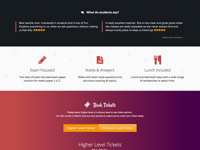 StudyNotes.ie Course Reviews & Features reviews features gradient purple dark section one page ticket exam landing