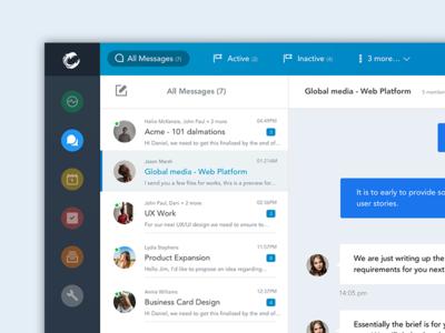 Messages Mail App Design blue header sidebar chat dashboard client email messages