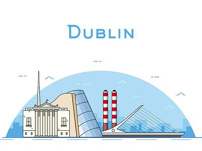 Dublin Illustration - Color building government spire city graphic cartoon colour color sketch app line dublin illustration