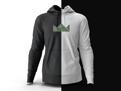Black & White Hoodie crown white black camouflage camo design hoodie