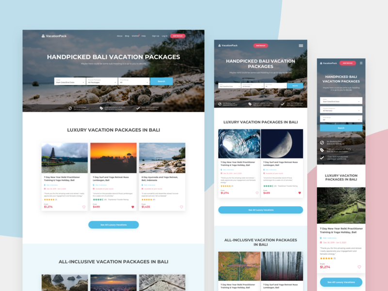 Vacation Aggregator clean mobile landing landing page design site accurate design ux ui