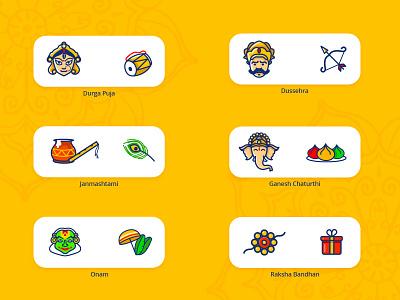 Hindu Festival Icons india hindu ethnic ux festival gods indian iconography icon logo digital web vector branding ui digital painting designer illustration design