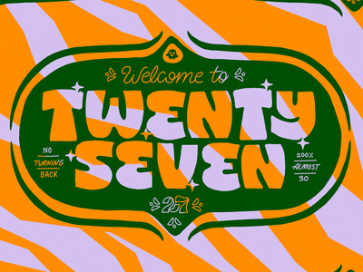 Twenty Seven gold green pattern flat lettering illustration