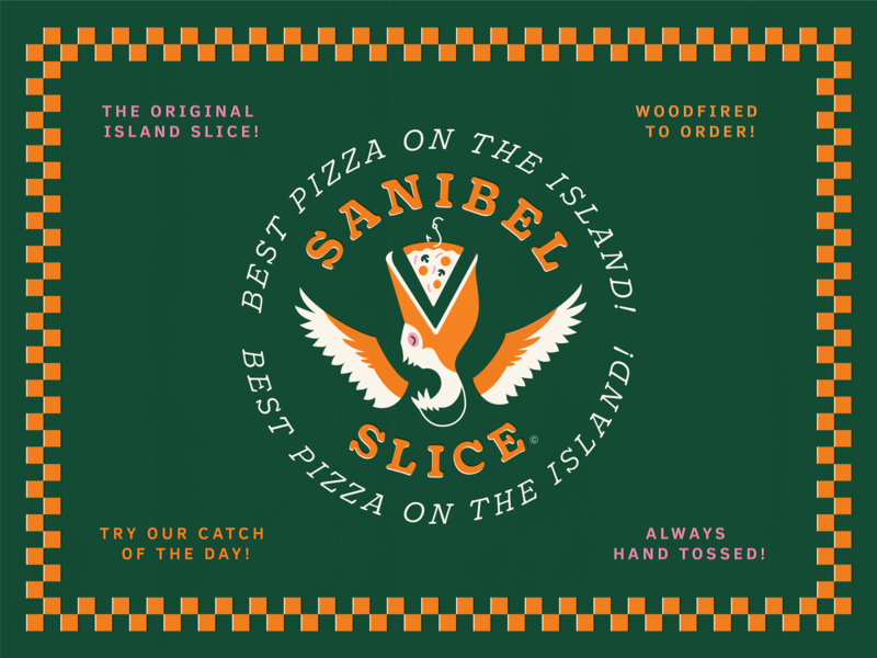 Sanibel Slice visual identity bird branding visual identity