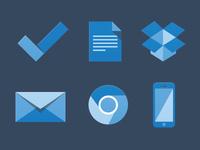 6 Blue Flat Icons
