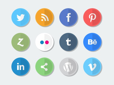 Flat Social Media Icon Set icons flat design web elements social media minimal