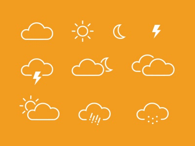 Weather Icons icons weather clouds sun rain snow storm simple freebie psddd vector
