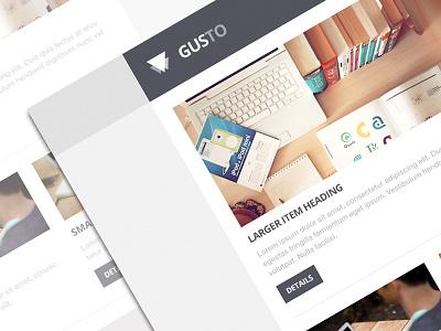 Gusto Email Theme freebie email theme template flat design psddd minimal web design psd