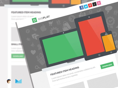 Display Responsive Email Template email template flat design newsletter html web design clean simple