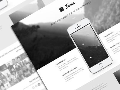 Focus PSD Theme psd web design app black gray minimal iphone apple landing page modern freebie psddd