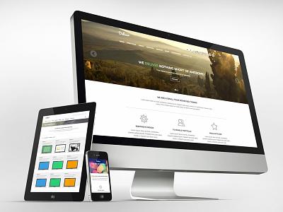 Deliver theme template minimal flat design parallax slider web design modern