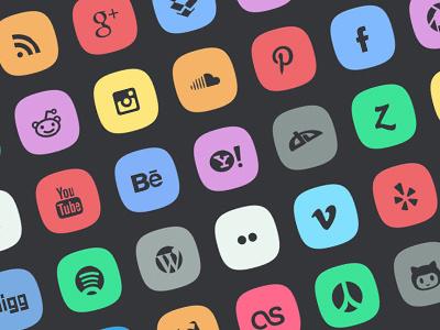 45 Subtle Social Media Icons icons social media freebie flat design psddd subtle