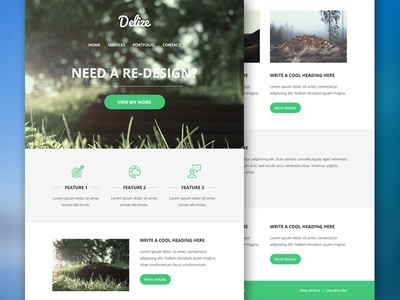 Delize Email PSD Theme psddd freebie email theme template web design flat design newsletter