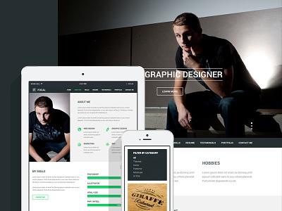 Focal Resume Theme responsive resume cv html portfolio flat design web design vcard