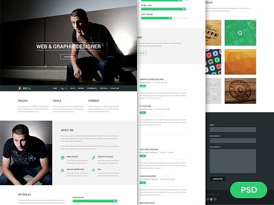 Focal Resume PSD Theme freebie theme web design resume flat design one page portfolio psddd