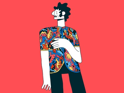 Cool shirt character editorial illustration