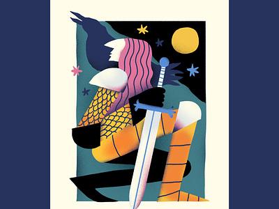 Morgan le fay mithology illustration raven folklore fantasy editorial character
