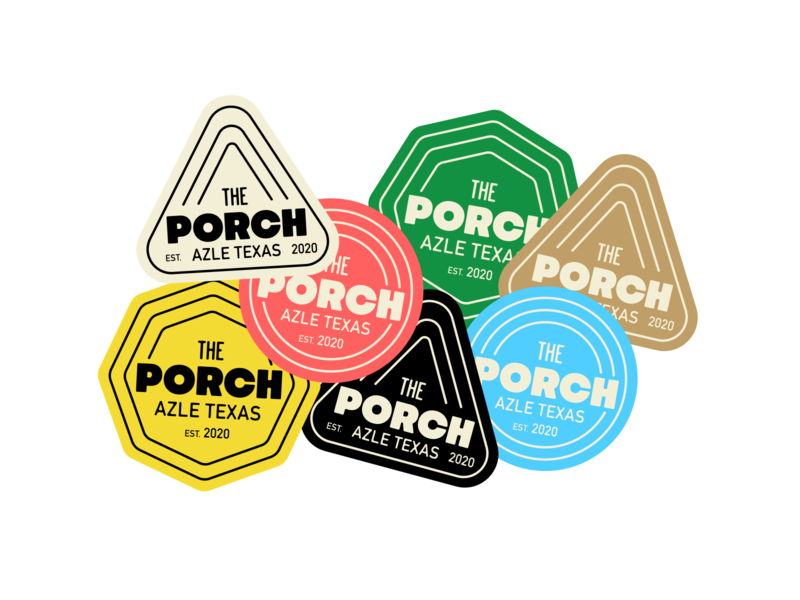 The Porch Stickers icon brand identity typography vector branding design