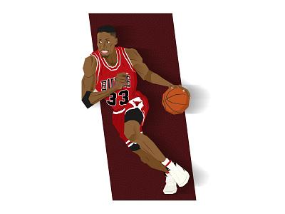 Scottie Pippen - The Last Dance the last dance chicago bulls 90s nba illustration dunk basketball scottie pippen