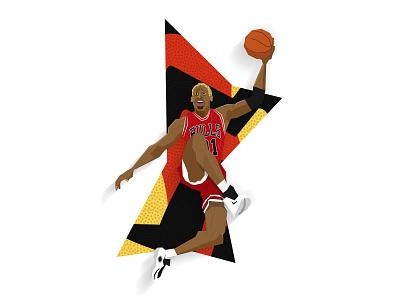 Dennis Rodman - The Last Dance worm dennis rodman the last dance slam dunk nba dunk illustration chicago bulls basketball 90s