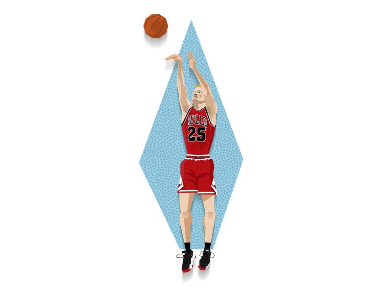 Steve Kerr - The Last Dance steve kerr the last dance slam dunk nba illustration dunk chicago bulls basketball 90s