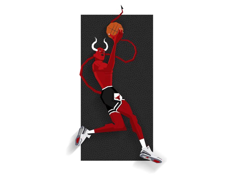 MJ Demon dunk nba michael jordan the last dance illustration chicago bulls basketball 90s